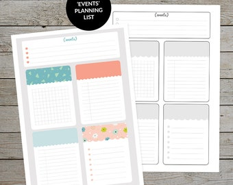 Printable Events Planning List - Bullet Journal Page - Planner Insert - Note Paper - Task List - Planner Page