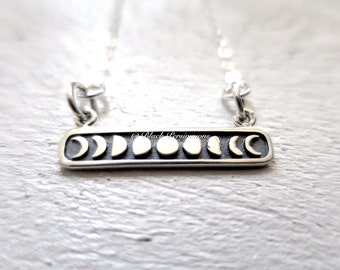 Etched Moon Phases Festoon Necklace - Solid 925 Sterling Silver Charm - Insurance Included