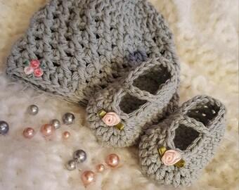 Newborn Baby Hat Beanie Slippers Cotton Crochet Set