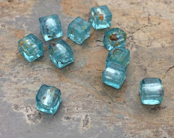 Light Blue Cube Beads, Small Glass Cube Beads, 6mm, 10 beads per package