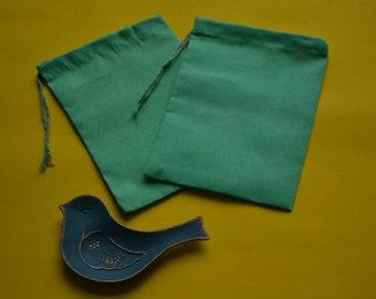 "50 Pcs 5"" x 7"" GREEN Single Drawstring Bag - Muslin Bag - Premium Fabric Bags"