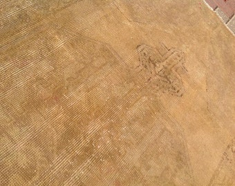 "Distressed rug, Oushak Rug, 98'' x 42"" , Muted color rug, Brown  rug, medallion rug, distressed area rug, plain rug, rug, Turkish, rug 152"