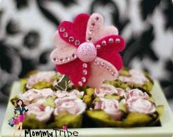 Pink & Fuchsia Heart Petal Flower Hair Clip with rhinestones