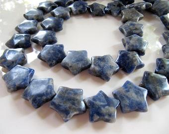 SODALITE Star Beads in Lapis Blue, Puffy Stone Stars, Gemstones, 20mm, 11 Beads