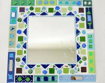 "Mosaic mirror ""Blue"" 35 x 35 cm blue mood"