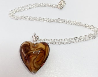 Gold Brown Heart Necklace Gold and Brown Swirl Pendant Lampwork Glass Necklace Glass Heart Pendant Necklace Gift for Her Romantic Jewelry