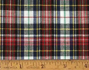 "Highland Red Tartan Plaid Homespun Cotton Fabric (Full Yard 36"" x 44"")"