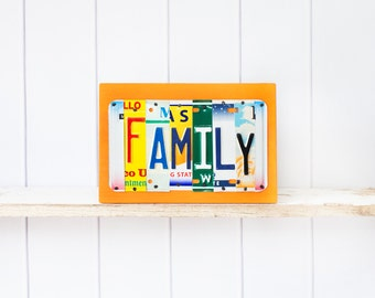 Family License Plate Art, OOAK Home Decor Wall Hanging, Mothers Day, Christmas gift, anniversary gift, birthday gift