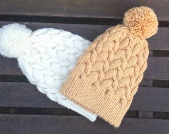 Ladies, Hat, Cable Design, Hand-knitted, CAMEL /Light Mustard, Pom Pom, Hat, Beanie Medium, Soft, Chunky,  Cabled, Knit