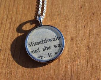 Misselthwaite Manor - The Secret Garden Book Page Pendant Necklace - Frances Hodgson Burnett - Literary Jewelry
