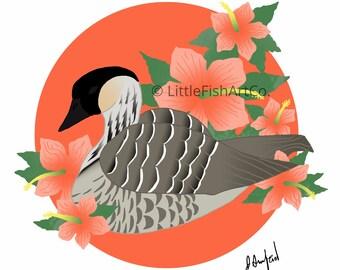 Hawaiian Nene and Hibiscus Print