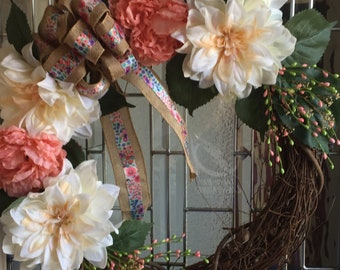 Large Pale Peach Dahlia and Peach Roses with Floral Burlap Bow Wreath