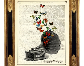 Butterflies Gramophone Dictionary Music Player Poster Print -  Steampunk Vintage Victorian Book Page Art Print