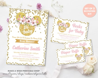 Oh Baby Shower Invitation, Gold Glitter Baby Shower Invite, Oh Baby Invitation, Pink and Gold Minnie Baby Shower, Floral Minnie Mouse US26