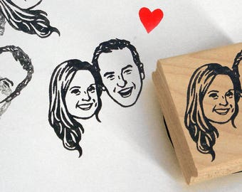 Custom illustrated portait Wedding favors for guests Save the date Personalized gift stamp / self inking / valentine engagement gift ideas