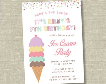 Ice cream party invitation, ice cream birthday invitation, ice cream social invitation, ice cream shoppe invitation, ice cream parlor
