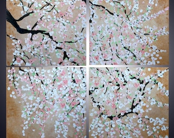 CHERRY BLOSSOM Custom Painting Original Modern Palette Knife Impasto Oil Artwork 40x40, 48x48
