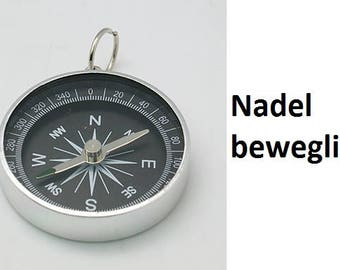 Compass, charm, pendant, silver, black, movable needle