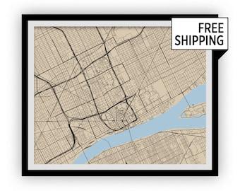 Detroit Map Print - Choose your color