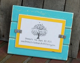 Picture Frame - Distressed Wood - Holds a 4x6 Photo - Aqua and Yellow