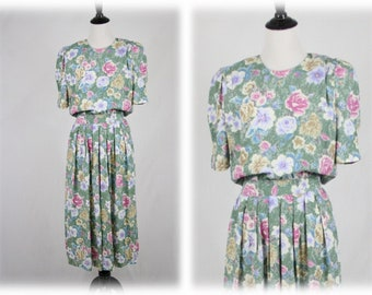 1980s Pastel Flowers Rayon Dress by Karin Stevens Size 8