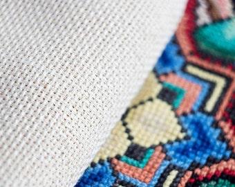 Vintage waste canvas_cross stitch canvas_bulgarian embroidery_big size embroidery_double cross-stitch_tear away canvas_blank canvas