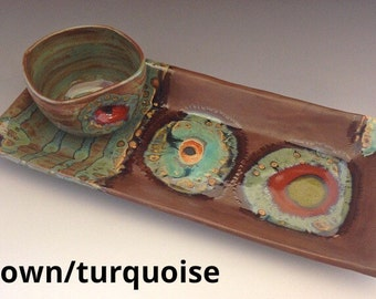 Ceramic Appetizer Tray with Dip Bowl