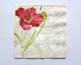 Beautiful towel with printed Fleur Rouge way painting with watercolors on cream background