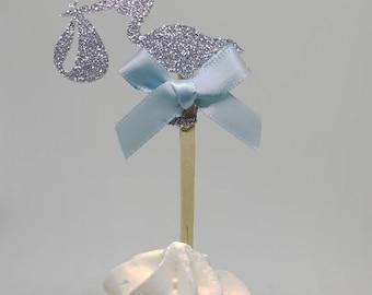 Its a boy baby shower, stork cupcake toppers, stork cupcake topper, boy cupcake topper, its a boy cupcake, stork glitter