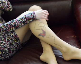S-XXL Sizes Available , Butterfly Tattoo Tights , Handprinted  Women's Pantyhose , Butterfly Printed Tights