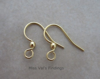 24 gold ear wires plated steel with ball