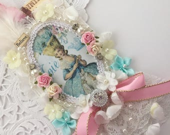 Wedding Lace Tag, Marie Antoinette Gift Tag,  French Gift Tag, Mixed Media Art Tag,  Lace Tag, Wedding Gift Tag