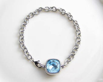 Swarovski Cushion Cut Bracelet ~ Square Crystal Bracelet ~ Aquamarine ~ Chunky Bracelet ~ Bridesmaid Gift ~ Solitaire Bracelet