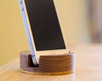 Walnut Phone Stand – Handmade Wood Phone Stand Featuring Walnut and Movingui Wood