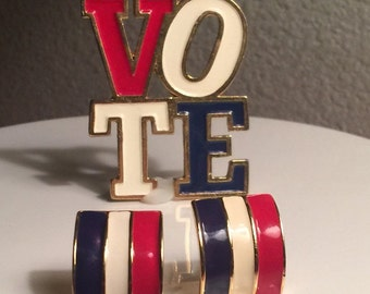 Vintage Vote Pin / Earrings / Patriotic Jewelry / Red White Blue Brooch / Gold Pin / Presidential / USA / Pierced
