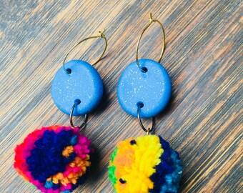 Betty Blue Pom Pom Earrings