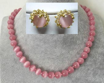 jewelry set- 10 mm pink opal analogues necklace & earrings set