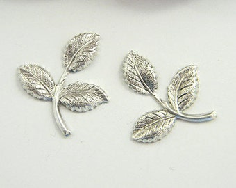 Antiqued Silver Leaf, Brass Leaves, Brass Stamping, Brass Leaf Finding, 26mm x 29mm - 4 pcs. (sl284)