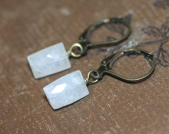Moonstone Earrings ~ White Moonstone ~ Rustic Jewelry ~ Antiqued Brass White Earrings