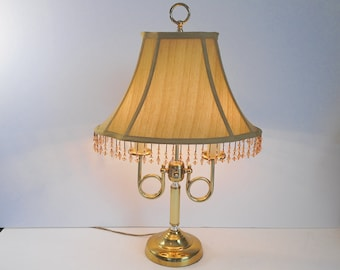 Double Candlestick Lamp with Beautiful Beaded Shade