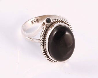 Black onyx 92.5 sterling silver ring size 6 us