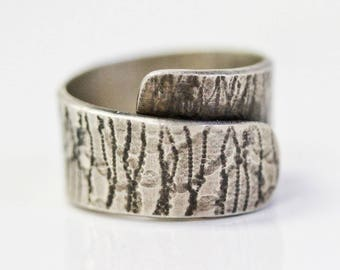 Textured and Oxidized Wrap Ring / Rustic Jewelry / Rustic Ring / Rolled Textured and Deeply Oxidized Ring / Wrap Ring / For Him / For Her
