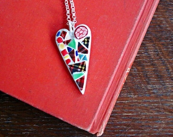 Red Plaid Mosaic Heart Necklace, Mosaic Heart, Mosaic Jewelry, Christmas Necklace, Christmas Jewelry, Mosaic Pendant, Silver Heart Pendant
