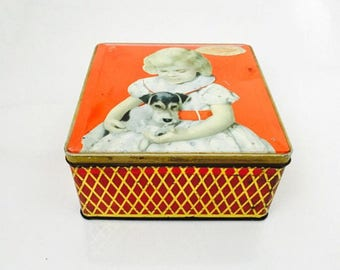 1960s Vintage 'W And R' Jacobs's Good Companions Biscuit Tin, Made In England Liverpool, Square Tin Girl with Terrior Dog Companion.