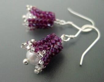 Peyote Earrings / Beaded Earrings /  Petite Earrings /  Fuschia Earrings / Bell Flower Earrings /  Herringbone Earrings / Beadwoven