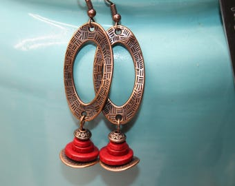 Red Copper Earrings Boho Jewelry Long Boho Earrings Long Dangle Drop Earrings Bohemian Jewelry Valentine's day Gift for women Gift for her