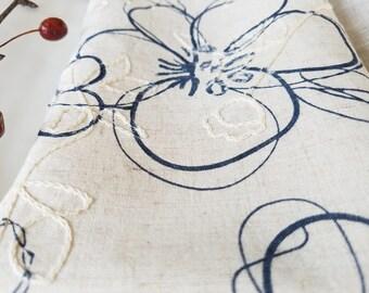 Large Floral Sketch Pattern Linen Napkins - Set of 4, 6, 8, 12 - Handmade Dinner Napkins, Wedding Napkins, Soft Reusable Napkins, Softened