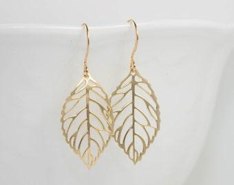 Gold Leaf Earrings, Gold Earrings, Simple Gold Earrings, Leaf Drop Earrings, Gold Boho Earrings, Gold Filigree Earrings [#929]