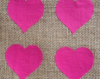 Fabric Iron on small Pink Hearts - Pack of 4