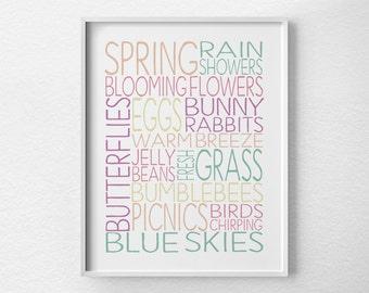 Spring Wall Art, Spring Decor, Spring Subway Art, Spring Print, Spring Art, Easter Decor, Easter Art, Typography Print, Seasonal Decor, 0458